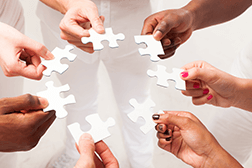 Diverse group of hands holding puzzle pieces